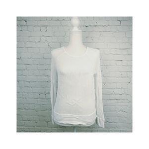 525 America M White Mesh  Crochet Knit Pullover